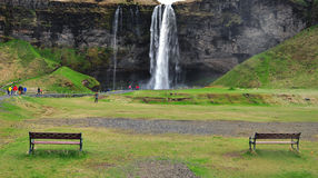 2 benches and waterfall Stock Photos