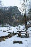 Benches into the wild mountains Royalty Free Stock Images