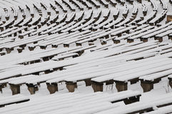 Benches in the winter. Benches which are placed in an open-air cinema stock photos
