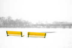 Benches in winter stock photos