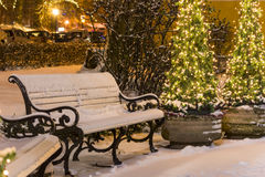 Benches in winter covered with snow Stock Photo