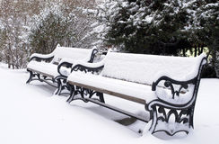 benches in winter under snow in a park Royalty Free Stock Images