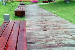 Benches by wooden road Stock Image