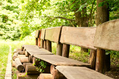 Benches of wooden trunk Royalty Free Stock Photo