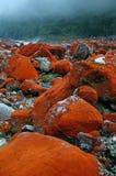 Benchland con la piedra roja Imagenes de archivo