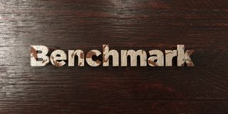 Benchmark - grungy wooden headline on Maple  - 3D rendered royalty free stock image Stock Image