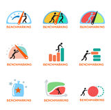 Benchmarking concept logo, vector icon set Stock Images