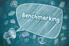 Benchmarking - Hand Drawn Illustration on Blue Chalkboard. Stock Photography