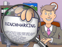 Benchmarking through Magnifying Glass. Doodle Design. Royalty Free Stock Photography