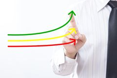 Benchmarking and market leader concept. Manager businessman, co. Ach, leadership touch graph with three lines, one of them represent the best company in stock photography