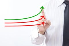 Benchmarking and market leader concept. Manager businessman, co. Ach, leadership touch graph with three lines, one of them represent the best company in royalty free stock photos