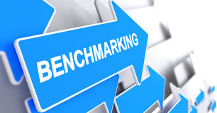 Benchmarking - Message on Blue Cursor. 3D. Benchmarking - Blue Arrow with a Inscription Indicates the Direction of Movement. Benchmarking, Label on Blue Arrow Stock Photography