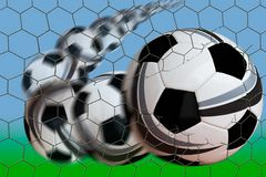 Bend it. Flight path of curving soccer ball breaking through goal net Stock Photography