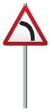 Bend Ahead Signpost. A triangular bend ahead sign on a pole isolated on a white background Stock Photography