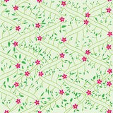 Bend Field Flowers Leaves Seamless Pattern_eps. Illustration of bend style leaves field with pink flowers and green color pattern Royalty Free Stock Photography