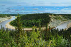 Bend in the Hay River, NWT Stock Images