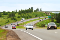 Bend of highway. Near Moscow (Russia) with hard traffic stock photo