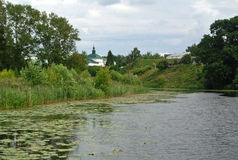 In bend of Kamenka River, opposite Suzdal Kremlin. Gold ring of Russia. landscape Royalty Free Stock Image