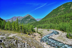 Bend of a mountain river Stock Photography