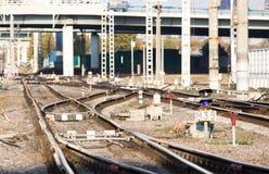 Bend railway path royalty free stock photos