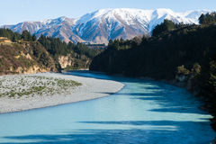 Bend of Rakaia River at Rakaia Gorge Royalty Free Stock Images