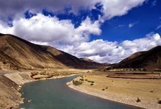 A bend river. It is in Tibet of China Stock Photos
