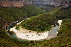 Bend of the river Ardèche Royalty Free Stock Images