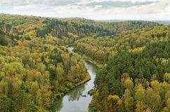 Bend of the river in autumn Royalty Free Stock Photo