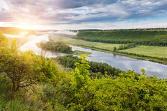 Bend of the river and island, the panoramic view from the hill. Royalty Free Stock Photos