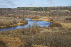 The bend in the river Sorot October afternoon. Pushkinskiye Gory Stock Photo