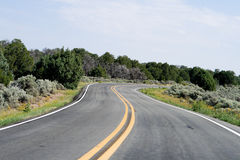 Bend in the Road, High Desert, New Mexico, USA Stock Photos