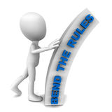 Bend the rules. A little 3d man bending the rules, a bent shape with text bend the rules on it in blue, white background Royalty Free Stock Photo
