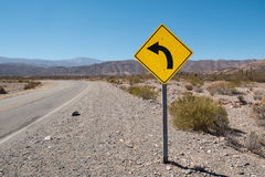 Bend traffic sign Royalty Free Stock Image