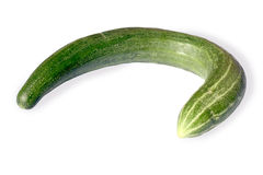 Bended Cucumber (w/ path). A bended cucumber on a white background Royalty Free Stock Photography