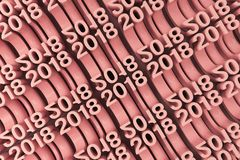 Grid of red New 2018 Year figures. Bended 2018 3D numbers. Grid of red New 2018 Year figures. Abstract background. 3D rendering illustration of 2018 number Royalty Free Stock Photo