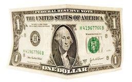 Bended dollar. The image of the bent in half dollar Stock Photo