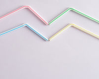 Bended drinking straws. On a white background stock image