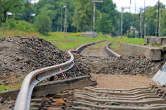 Bended track. Bended flexible rail during the track modernization royalty free stock photography