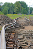 Bended track. Bended flexible rail during the track modernization stock photo
