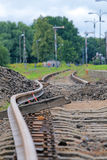 Bended track. Bended flexible rail during the track modernization royalty free stock photo