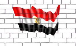 Bendera Egipto en pared de labrillos. La bandera nacional de Egipto fue adoptada el 4 de octubre de 1984. Es una bandera compuesta por tres franjas horizontales Stock Photos