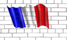 Bendera Francia en pared de labrillos. La Bandera de Francia Originada en las ideas liberales de la famosa Revolución Francesa tanto sus colores como diseño Stock Image