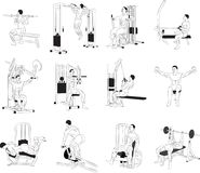 Exercising. Bending body to abdominal muscles and legs. Bending body to abdominal muscles and legs. Exercising for bodybuilding vectors Royalty Free Stock Photos