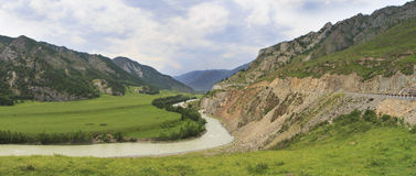 Bending of Chuya River and Chuysky Trakt in Altai Stock Photography