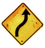 Bending directional arrow sign. Bending directional arrow on old yellow road sign, isolated on white background Stock Photos