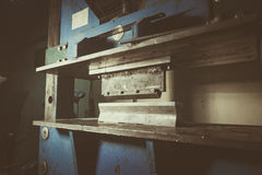 Bending metal machine. In a workshop closeup and angle view Royalty Free Stock Photography