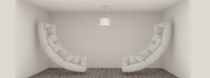Bending sofas. In a surreal empty room 3d illustration vector illustration
