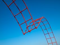 Bending steel painted red Royalty Free Stock Photo