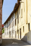 Bending street in town center, Soncino Royalty Free Stock Images