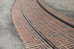 Bending tram rails on the street a sunny summer Royalty Free Stock Photos